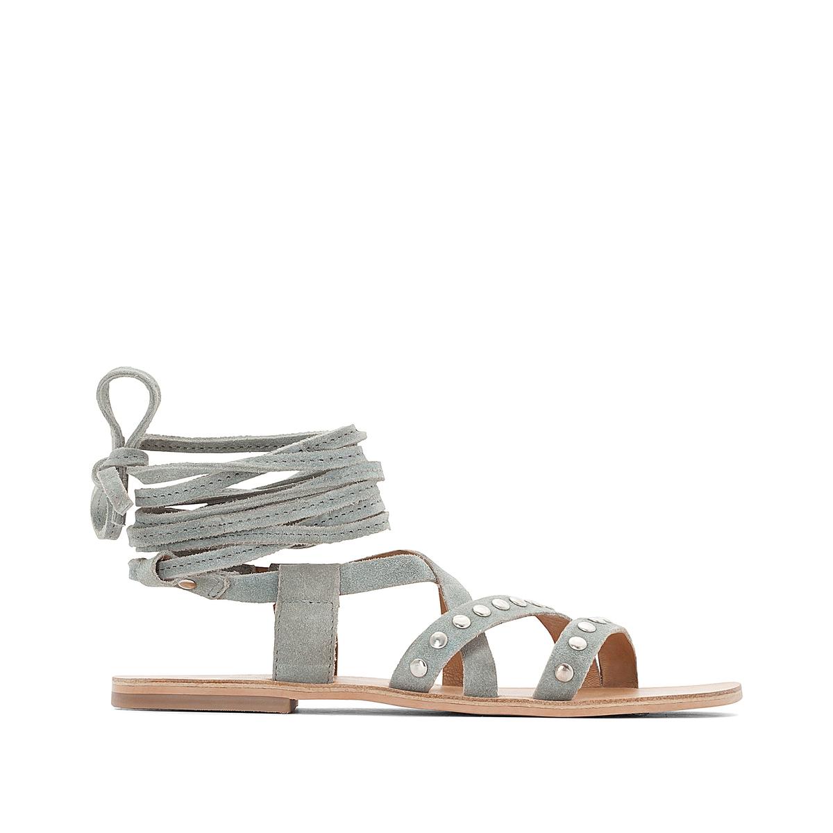 Босоножки кожаные с металлической деталью на плоском каблуке ботильоны кожаные на молнии на плоском каблуке nicole