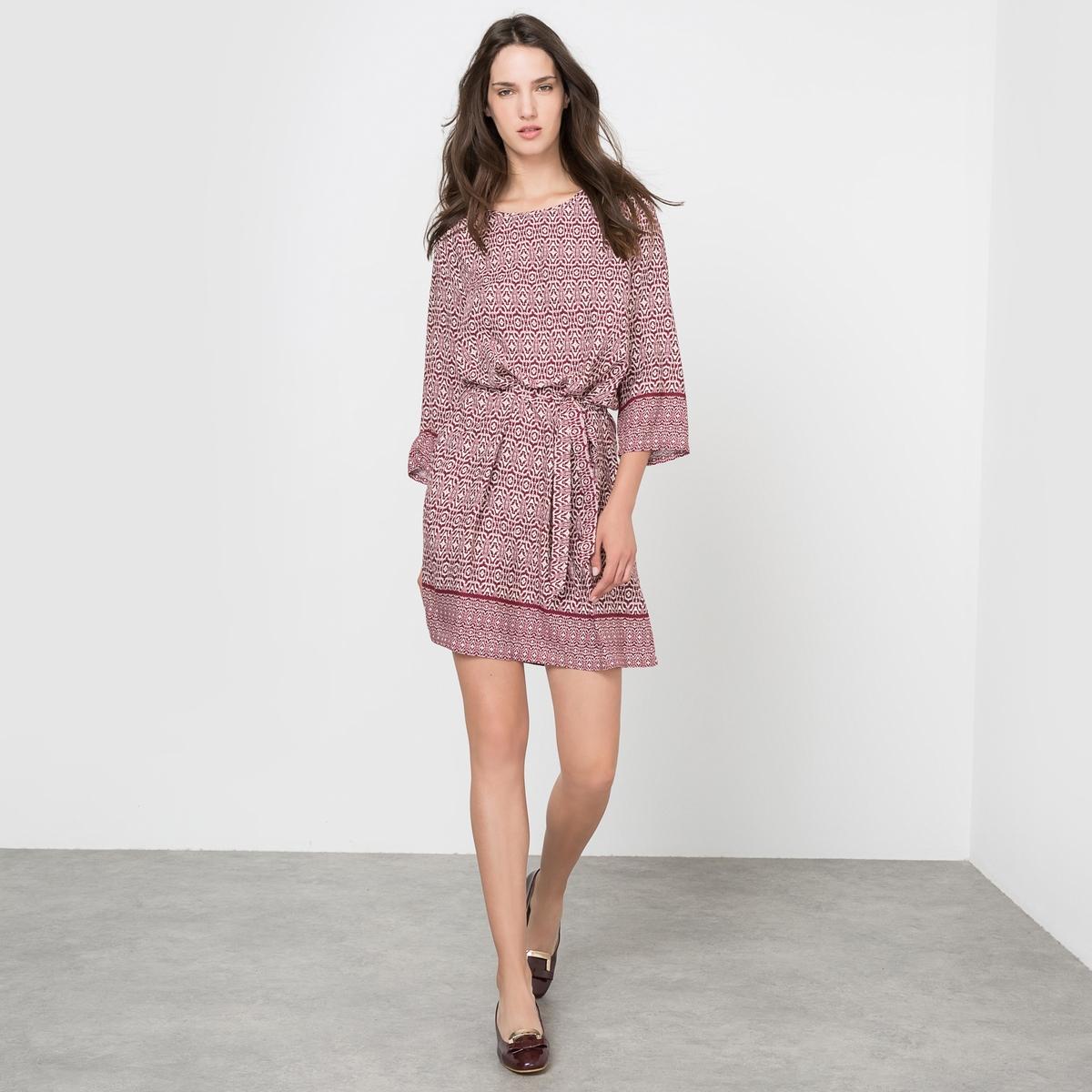 Платье расклешенное с принтомСостав и описание:Материал: 100% района.Марка: MOLLY BRACKEN.УходСтирать вручную.<br><br>Цвет: бордовый<br>Размер: S