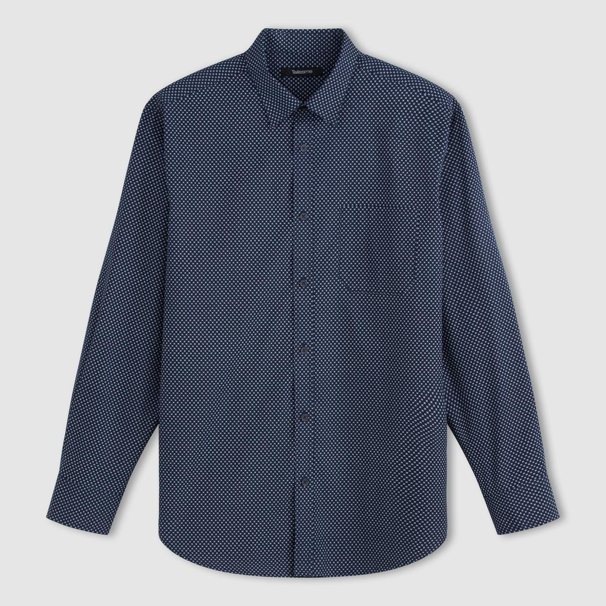 Рубашка с длинными рукавами из поплина с рисункомРубашка. Длинные рукава. 1 накладной нагрудный карман. Складка для большего комфорта сзади. Свободные уголки воротника . Поплин, 100% хлопка. Длина 80 см. Обратите внимание, что бренд Taillissime создан для высоких, крупных мужчин с тенденцией к полноте. Чтобы узнать подходящий вам размер, сверьтесь с таблицей больших размеров на сайте.<br><br>Цвет: рисунок темно-синий<br>Размер: 41/42