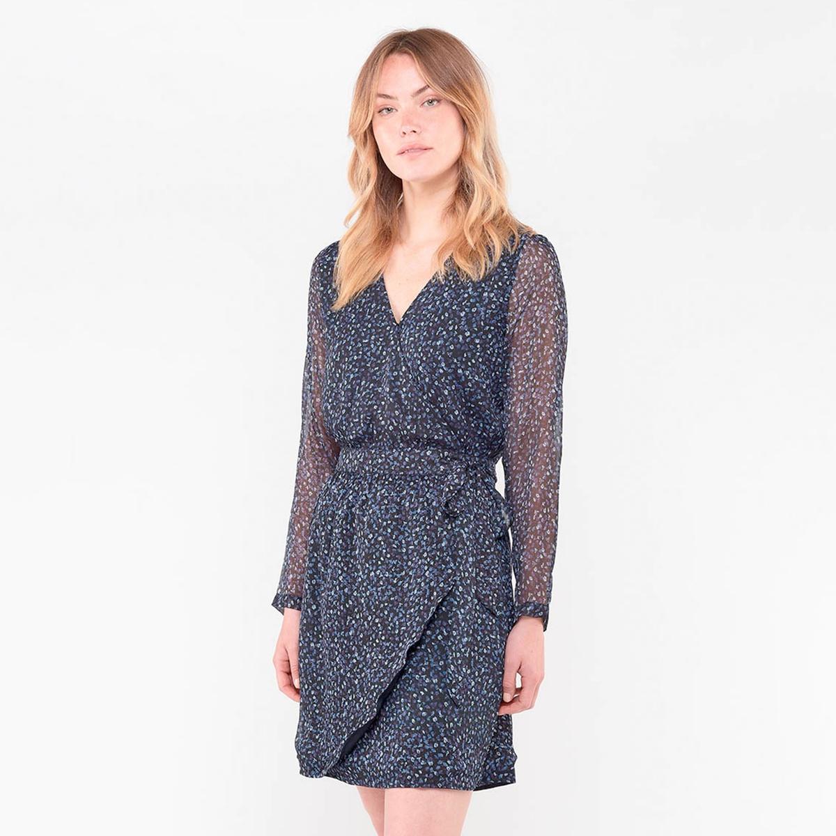 Платье La Redoute Короткое с запахом с цветочным рисунком M синий платье миди la redoute с запахом струящееся m синий