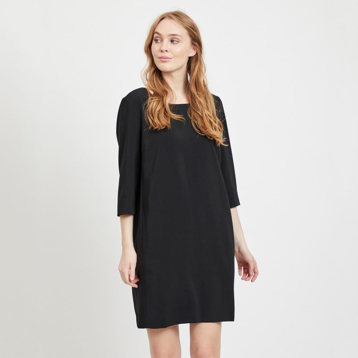 цена Платье La Redoute Прямое с рукавами 34 (FR) - 40 (RUS) черный онлайн в 2017 году