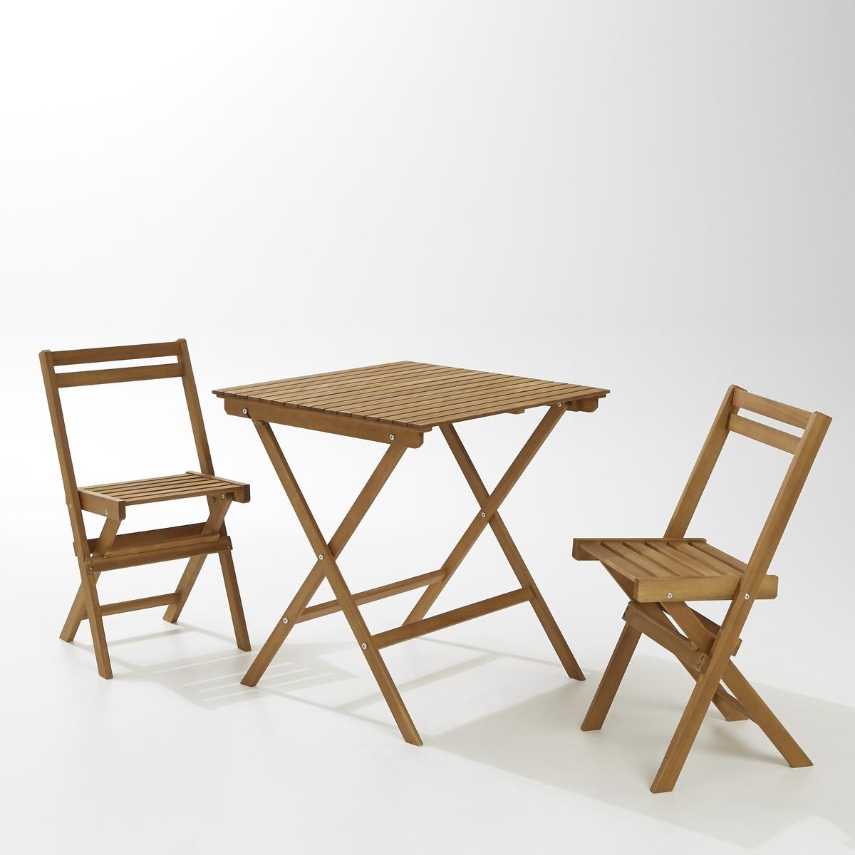 Комплект мебели для садаКомплект мебели для сада из складного стола и 2 стульев из акации контролируемого происхождения также включает стойку для компактного хранения. комплект станет красивым дополнением на балконе, в саду или на террасе.  Описание комплекта:1 складной стол и 2 стула.1 стойка для хранения из акации.Характеристики комплекта:Акация контролируемого происхождения, отделка тиком.Складной стол, вставные стулья.Стойка из акации.Размеры комплекта:Стол: Длина: 70 см.Высота: 75 см.Глубина: 70 см.Стул: Длина: 42 см.Высота: 80 см.Глубина: 44 см.Высота сиденья: 45 см.Стойка:Длина: 40 см.Высота: 110 см.Глубина: 39 см.Размеры и вес в упаковке:1 упаковка.Ш.98 x В.18 x Д.72.5 см.11 кг.Доставка: Для комплекта для сада из акации контролируемого происхождения предусмотрена самостоятельная сборка. Доставка до квартиры!Внимание! Убедитесь, что товар возможно доставить на дом, учитывая его габариты (проходит в двери, по лестницам, в лифты).<br><br>Цвет: акация