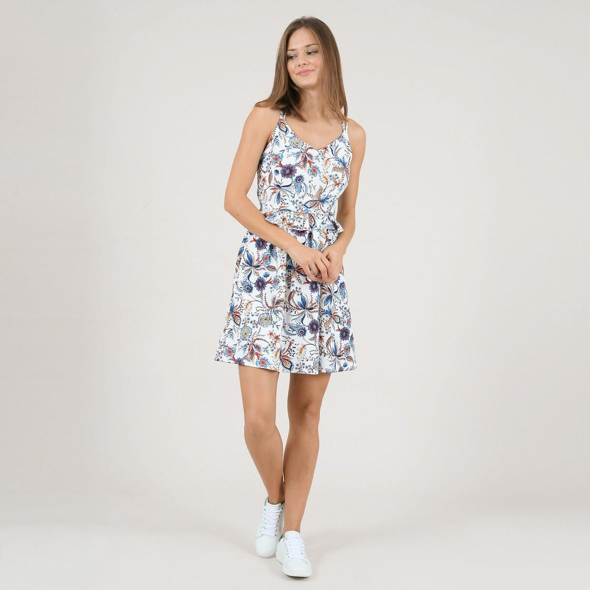Платье La Redoute Короткое расклешенное с цветочным рисунком и глубоким вырезом сзади L белый