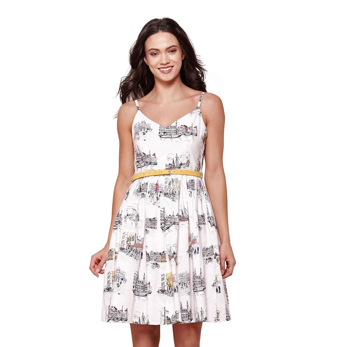 Платье расклешенное от пояса с тонкими бретелями и рисунком платье yumi yumi платье