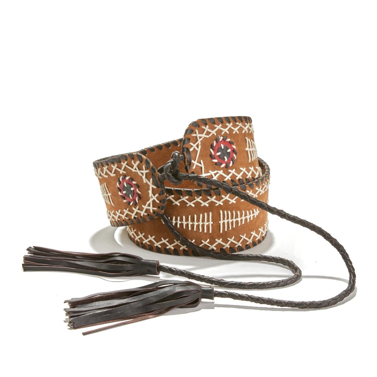 Cinturón ancho para anudar, de piel bordada