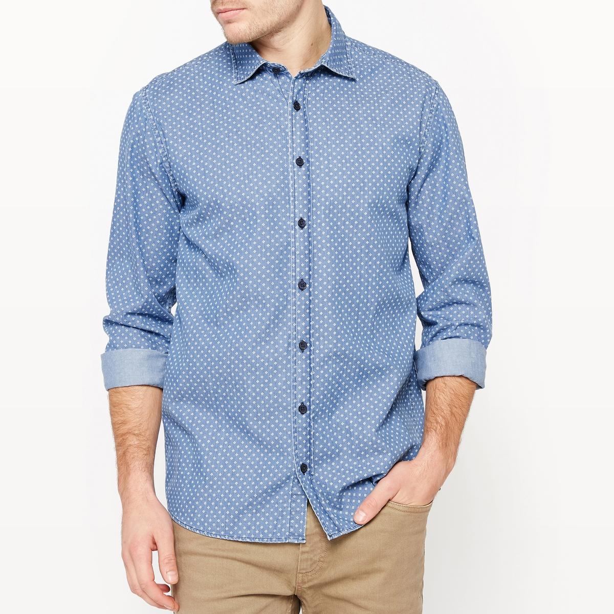 Рубашка прямого покроя из ткани шамбре