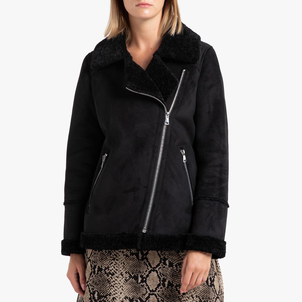 Пальто La Redoute На молнии с воротником с лацканами COMMANDER M черный цены