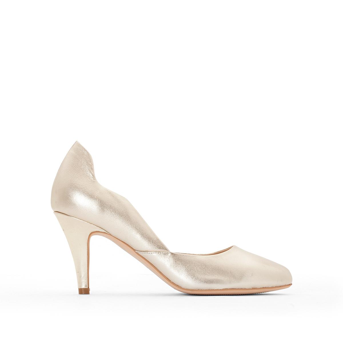 Туфли кожаныеОписание:Детали •  Каблук-шпилька •  Застежка : без застежки •  Открытый мысокСостав и уход •  Верх 100% замша<br><br>Цвет: золотистый<br>Размер: 39