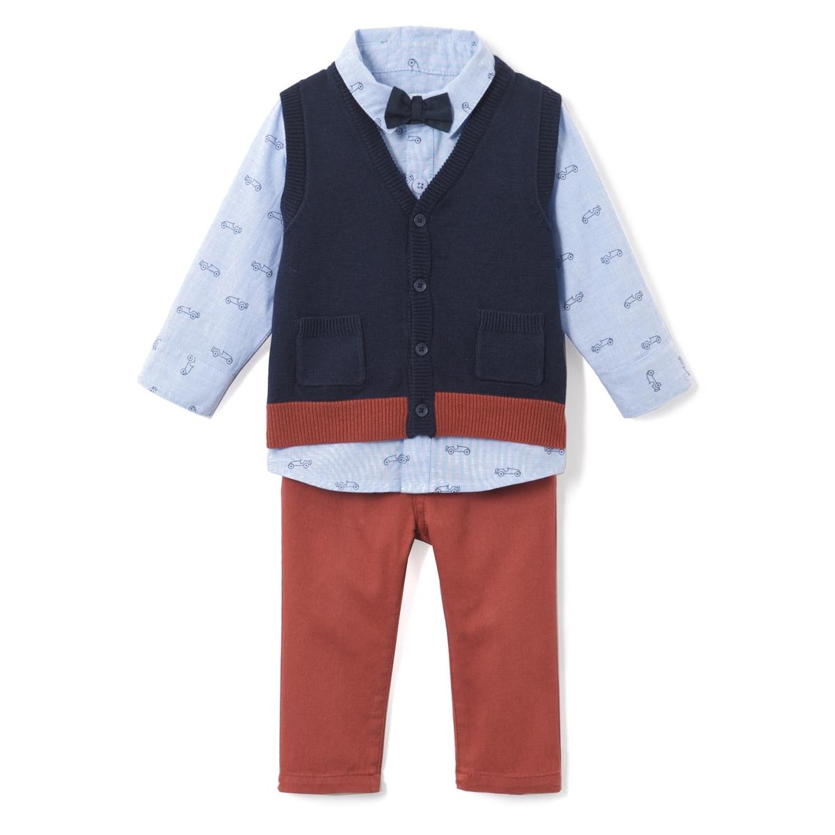 Комплект: Боди-поло, однотонная рубашкаДетали •  Длинные рукава •  Воротник-поло, рубашечныйСостав и уход •  100% хлопок •  Стирать при 40° • Низкая температура глажки / не отбеливать   • Барабанная сушка на слабом режиме       • Сухая чистка запрещена<br><br>Цвет: Синий + темно-синий + коричневый<br>Размер: 1 мес. - 54 см.3 года - 94 см.18 мес. - 81 см.1 год - 74 см.6 мес. - 67 см.3 мес. - 60 см.9 мес. - 71 см