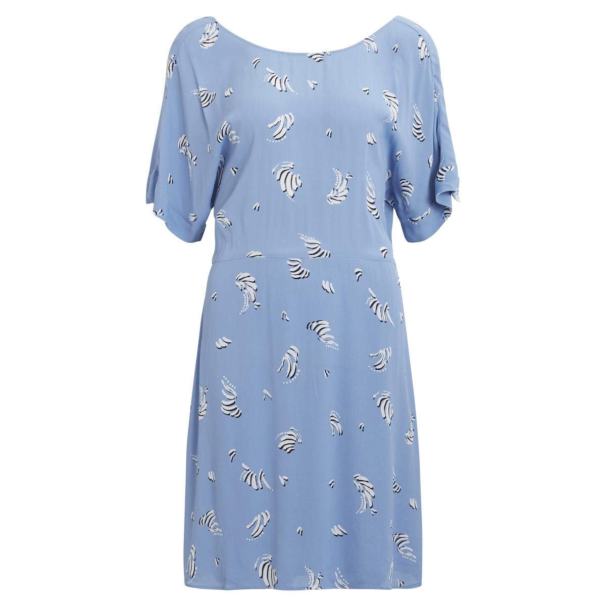 Платье La Redoute Струящееся с короткимим рукавами 36 (FR) - 42 (RUS) синий платье la redoute прямое струящееся cienna 2 m синий
