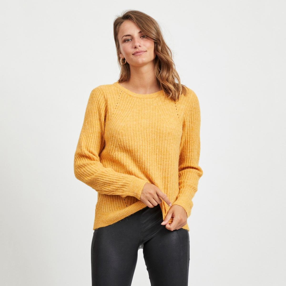Пуловер La Redoute С круглым вырезом и длинными рукавами M желтый пуловер la redoute с круглым вырезом и длинными рукавами m каштановый
