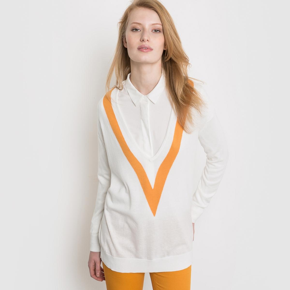 Пуловер в теннисном стиле c V-образным вырезомПуловер в теннисном стиле. Пуловер в теннисном стиле, из трикотажа тонкой вязки, широкого и длинного покроя. Длинные рукава, глубокий V-образный вырез, подчеркнутый широкой контрастной полосой. Края рукавов и низа связаны в рубчик. Состав и описаниеМатериал : 50% акрила, 50% хлопкадлина : 70 смУход Машинная стирка при 30 °С<br><br>Цвет: слоновая кость<br>Размер: 38/40 (FR) - 44/46 (RUS)
