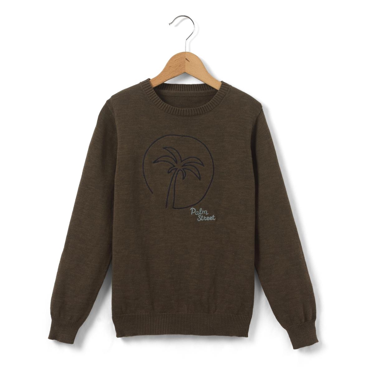 Пуловер с вышивкой пальма 3-12 лет