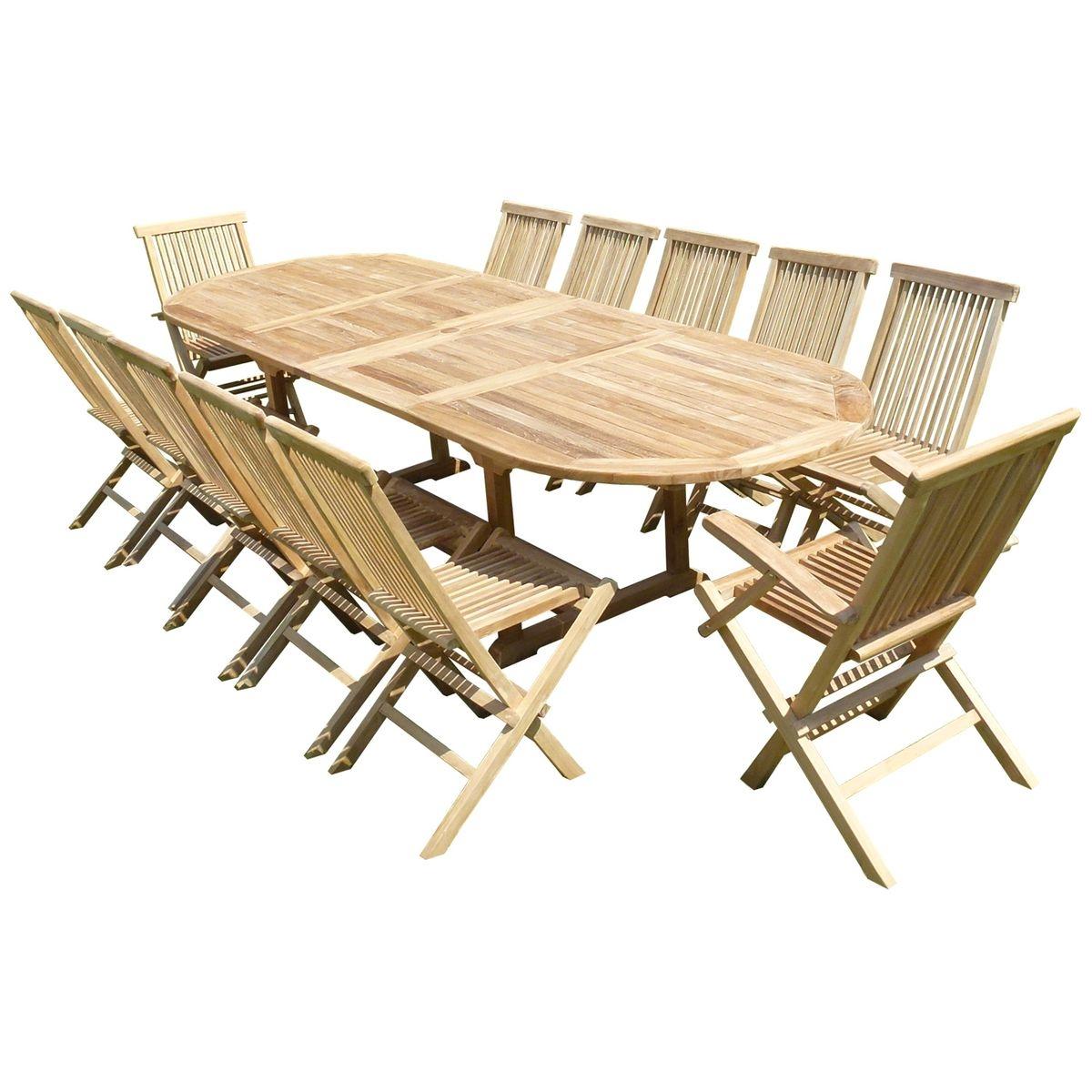 Ensemble de jardin en teck premium NAYAN 10 chaises 2 fauteuils JENAE