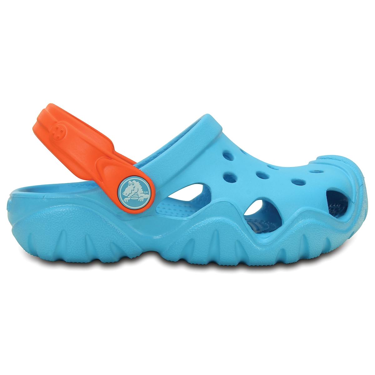 Сабо Kids Swiftwater ClogОписание:Детали •  Плоский каблук •  Застежка : ремешок/пряжка •  Круглый мысок •  Гладкая отделкаСостав и уход •  Верх 100% ПВХ (поливинилхлорид) •  Стелька 100% ПВХ •  Подошва 100% ПВХ<br><br>Цвет: синий/ оранжевый<br>Размер: 25/26