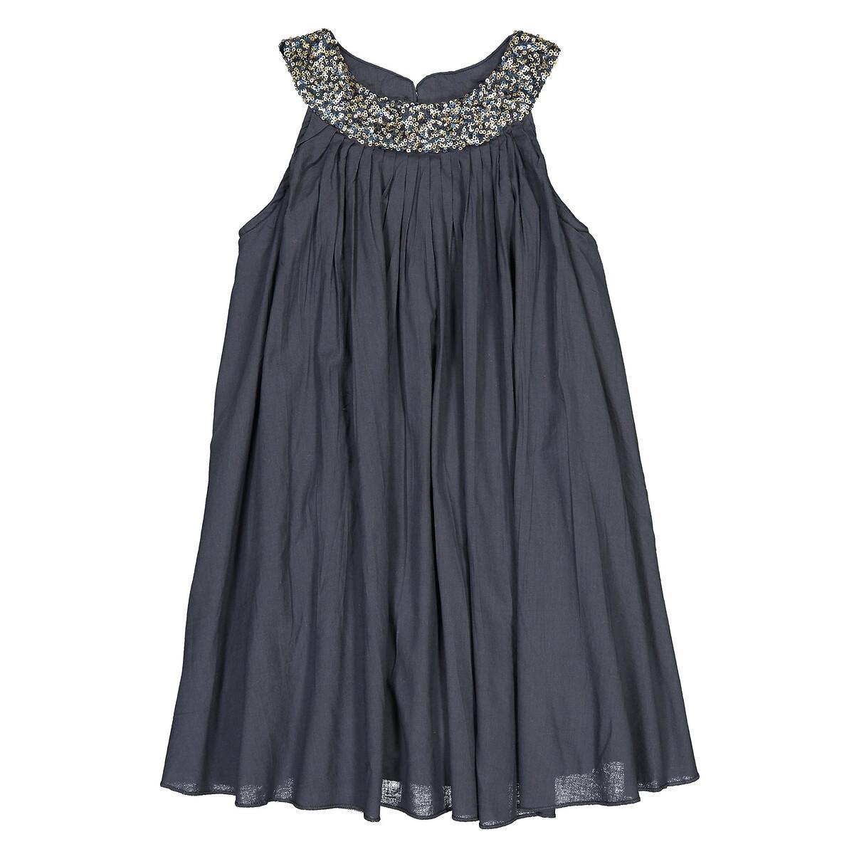 Фото - Платье LaRedoute С блестками на вырезе 3-12 лет 5 лет - 108 см синий кардиган laredoute из плотного трикотажа 3 12 лет 5 лет 108 см синий