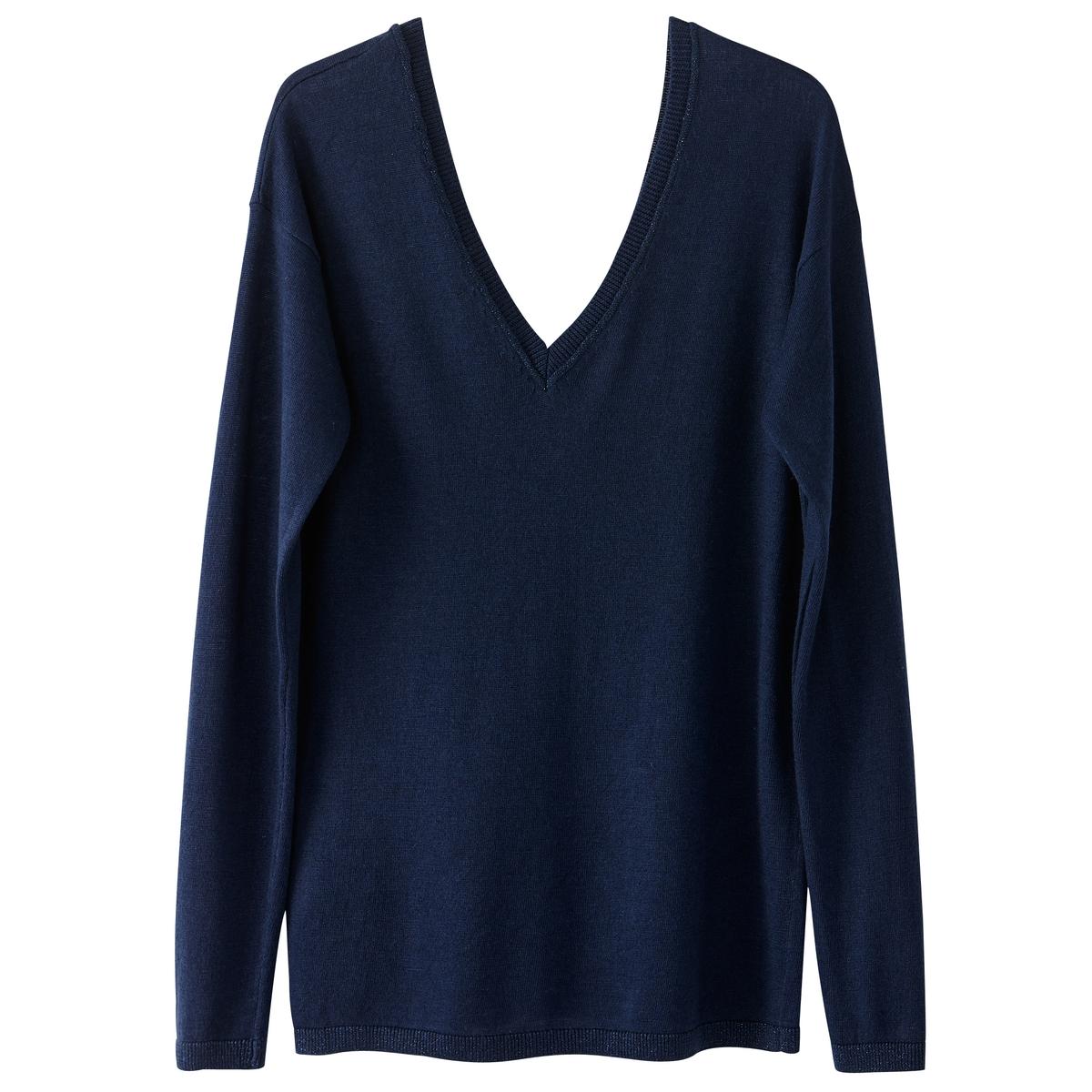 Пуловер стандартного покрояОписание •  Длинные рукава  •   V-образный вырез •  Тонкий трикотаж Состав и уход •  5% шерсти, 20% акрила, 20% полиамида, 55% полиэстера •  Следуйте рекомендациям по уходу, указанным на этикетке изделия<br><br>Цвет: синий,черный