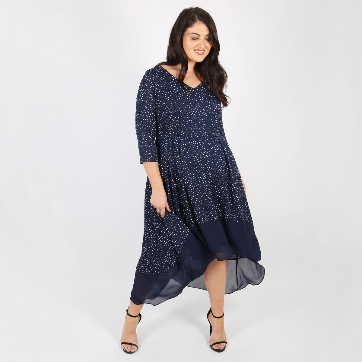 Платье расклешенное средней длины с рисунком в горошек
