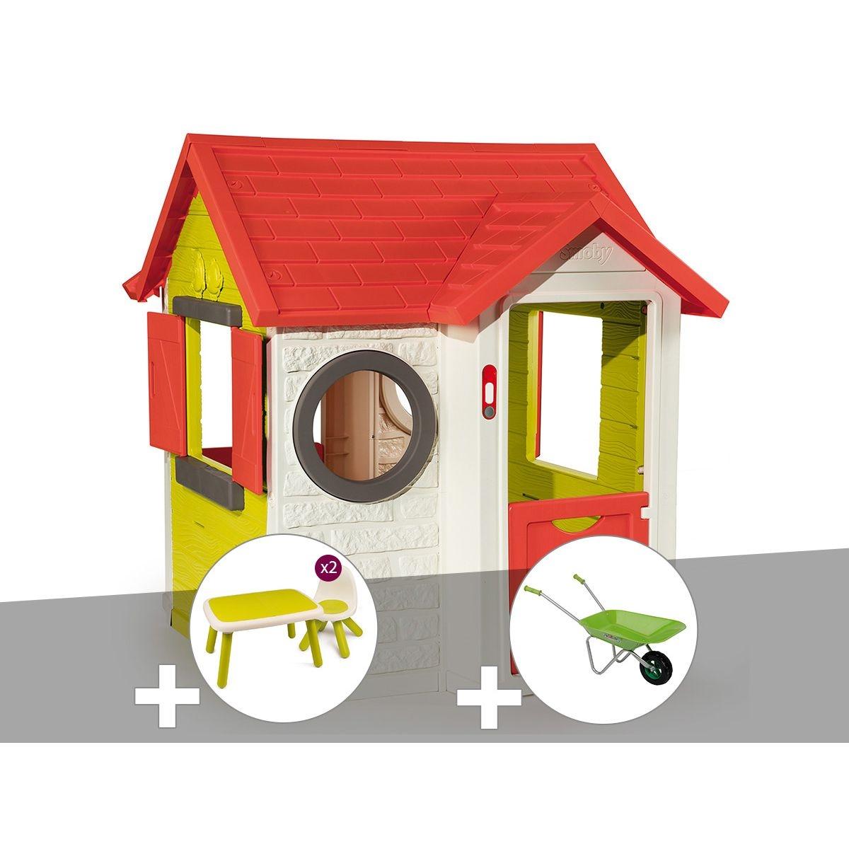 Cabane enfant My House - Smoby + Table et 2 chaises + Tabouret + Brouette