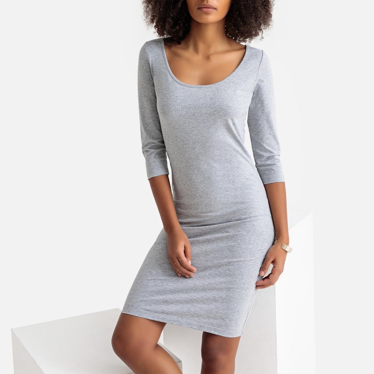 цена на Платье La Redoute Короткое облегающее с рукавами XS серый