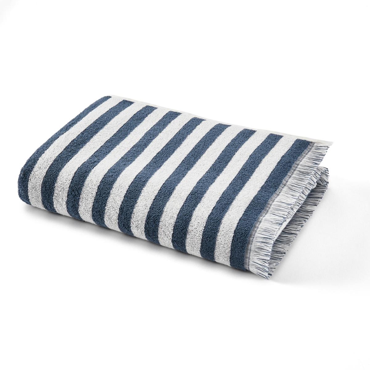 Полотенце La Redoute Махровое в полоску Malia 70 x 140 см синий полотенце махровое вт забавный мишка цвет синий 33 х 70 см м1053 01