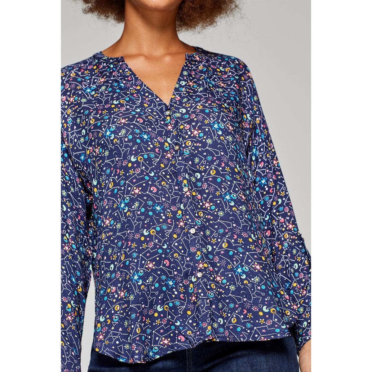 Blusa con cuello de pico gráfica, de manga larga