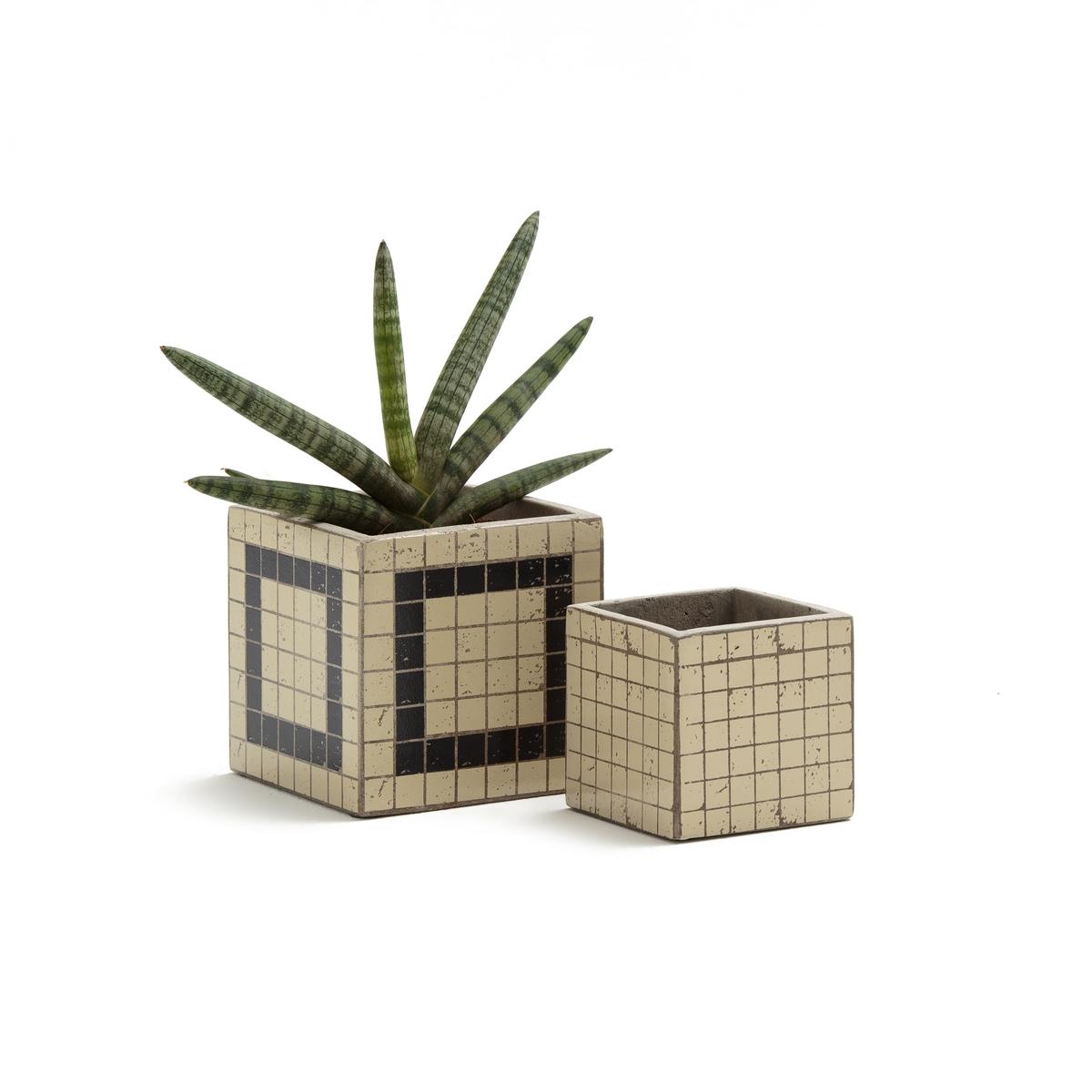 Confezione da 2 fioriere in cemento, KUBIO