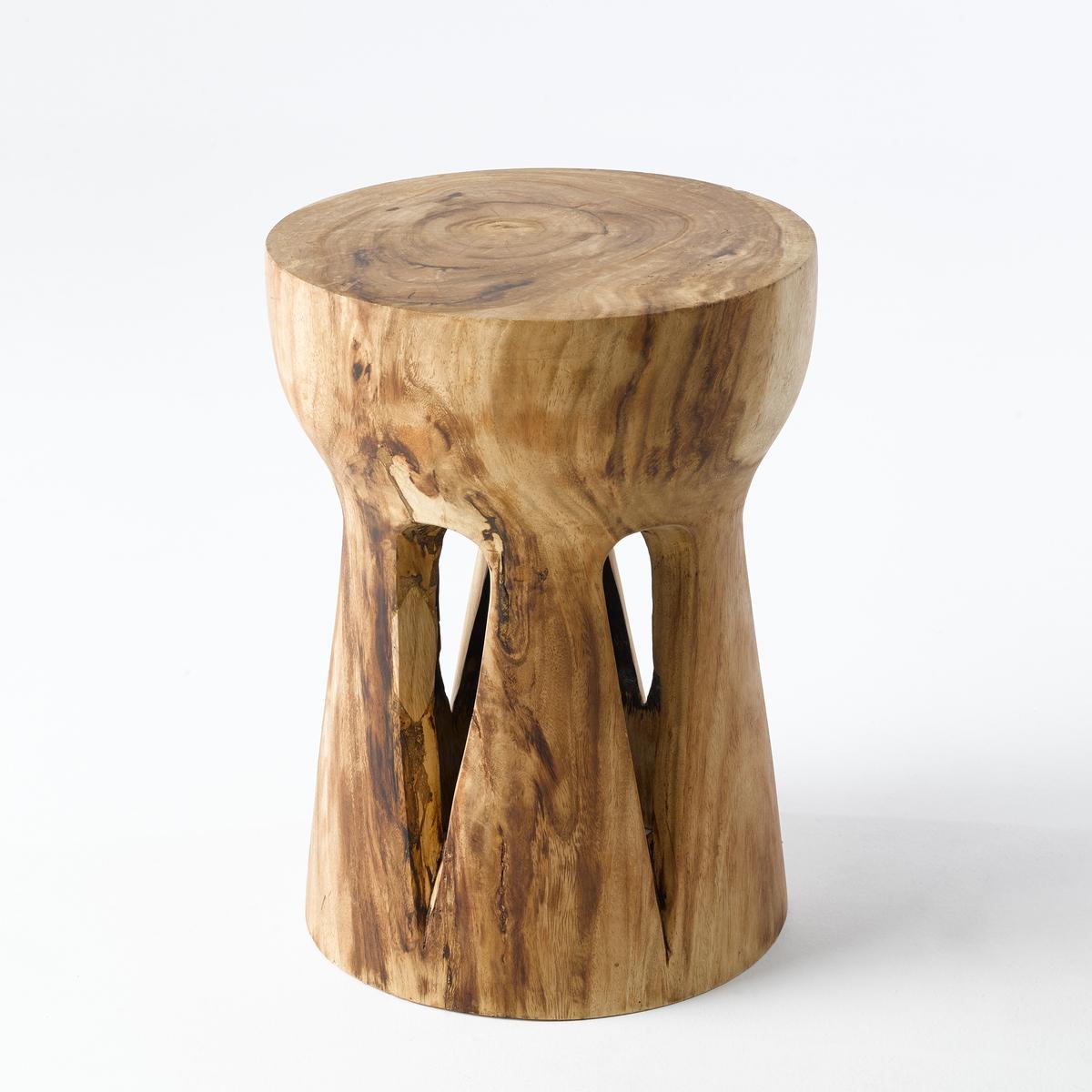 Столик диванный PapungХарактеристики :- Массив дерева суар. Каждое изделие уникально.  Размеры:- диаметр 30 x высота 45 см<br><br>Цвет: серо-бежевый