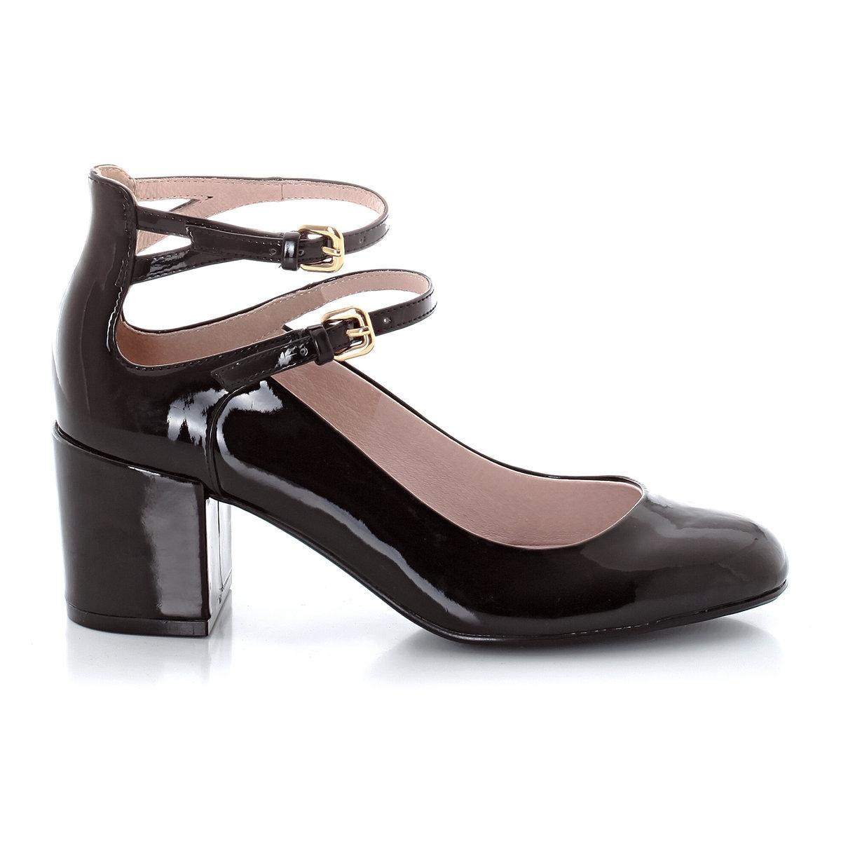 Балетки лакированные на каблукеВерх : синтетикаПодкладка : кожаСтелька : кожаПодошва : эластомерВысота каблука : 6 смФорма каблука : широкийМысок : закругленныйЗастежка : ремешкиМарка: mademoiselle R<br><br>Цвет: синий,черный<br>Размер: 38.39.40.41.35.36.37.40