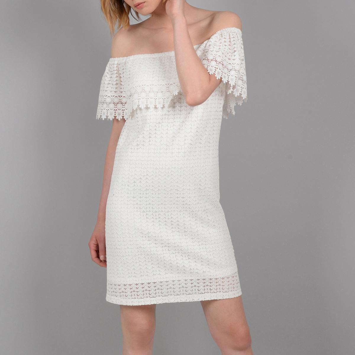 Платье-футляр La Redoute Из кружева с открытыми плечами M белый платье la redoute облегающее с открытыми плечами из тонкого трикотажа xs черный