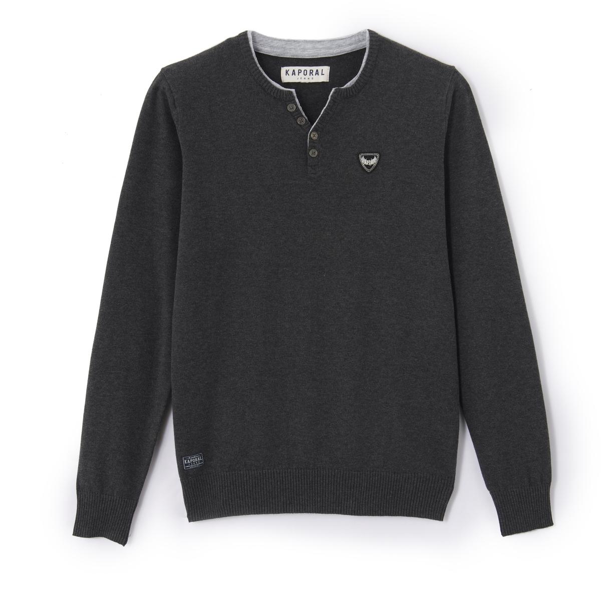 Пуловер с разрезом на круглом вырезе из тонкого трикотажа