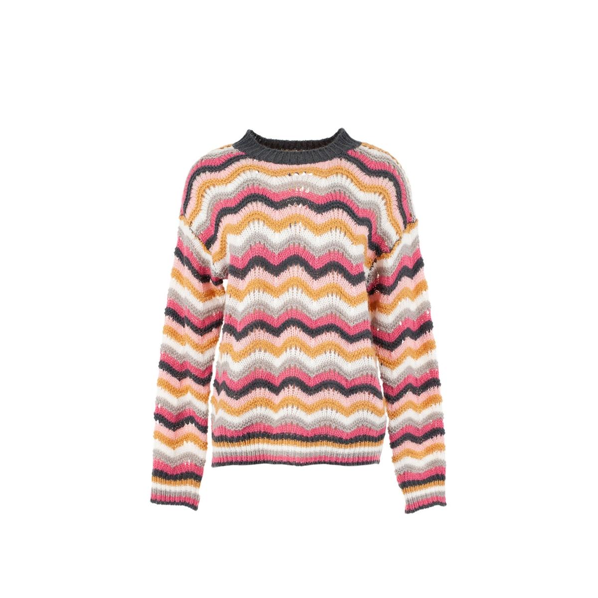 Пуловер La Redoute С круглым вырезом и длинными рукавами Eloi L белый пуловер la redoute с круглым вырезом и длинными рукавами m каштановый