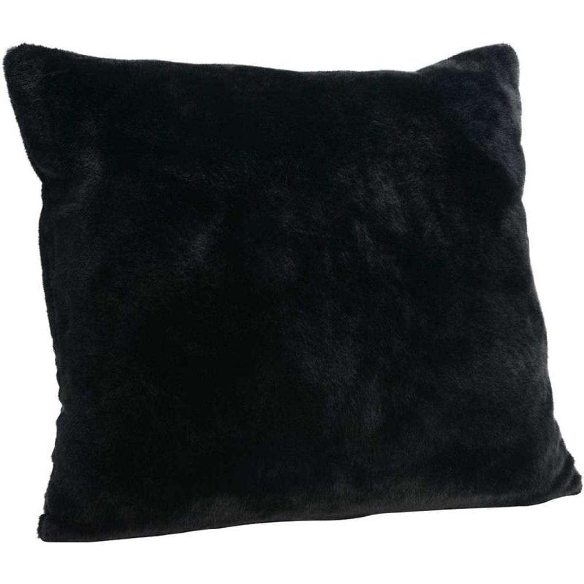Coussin fourrure noir 60cm
