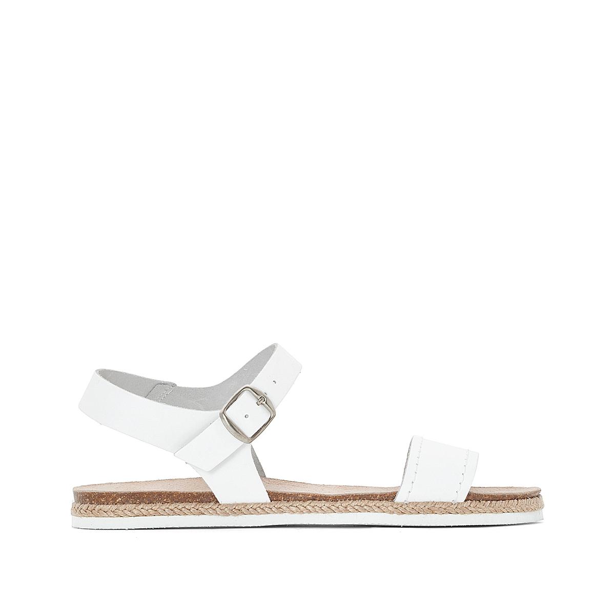 Сандалии кожаные Keita StrapВерх/Голенище : кожа   Стелька : синтетика  Подошва : каучук  Высота каблука : 1,5 см  Форма каблука : плоский каблук  Мысок : закругленный мысок Застежка : пряжка<br><br>Цвет: экрю