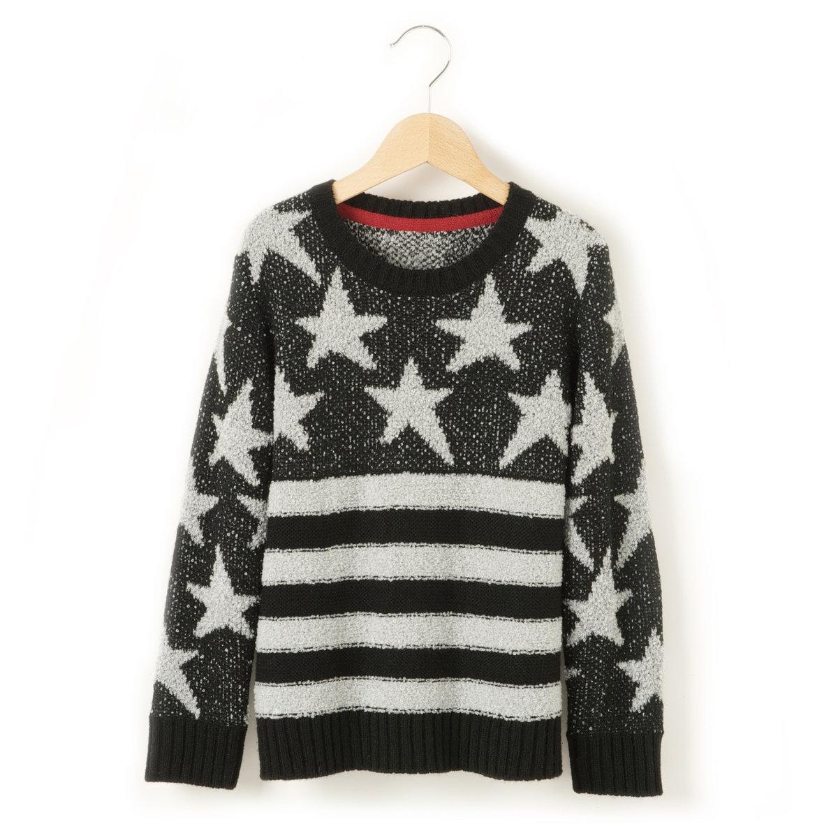 Пуловер с флагом, 3-12 летПуловер с изображением флага США. Трикотаж, 88% акрила, 12% полиамида. Круглый вырез. Края связаны в рубчик.<br><br>Цвет: черный/темно-серый