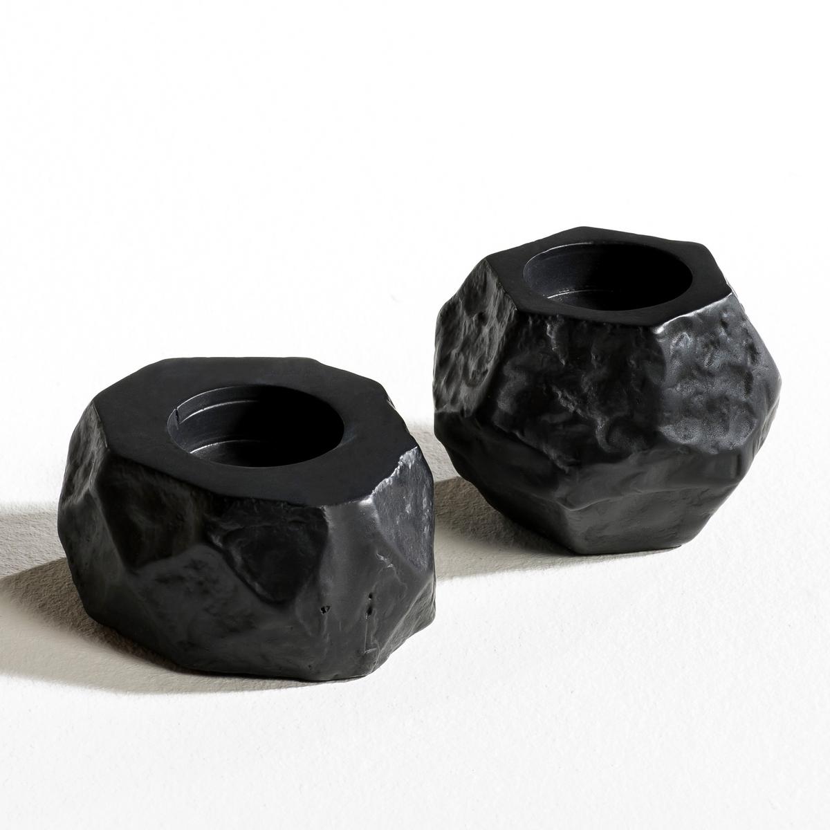 2 подсвечника, Ecrou2 подсвечника Ecrou . Из литого алюминия с черным матовым покрытием . Для греющей свечи (не входит в комплект). Размеры. : ?9 x В5 см и ?10 x В7 см .<br><br>Цвет: черный