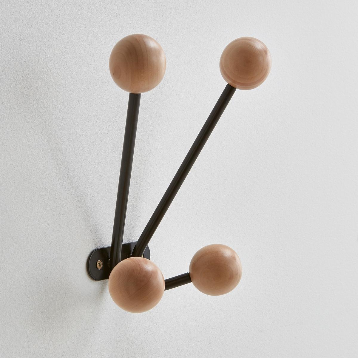 Вешалка La Redoute Настенная с крючками AGAMA единый размер черный вешалка настенная зми ажур с 4 крючками цвет медный 48 х 8 х 21 см