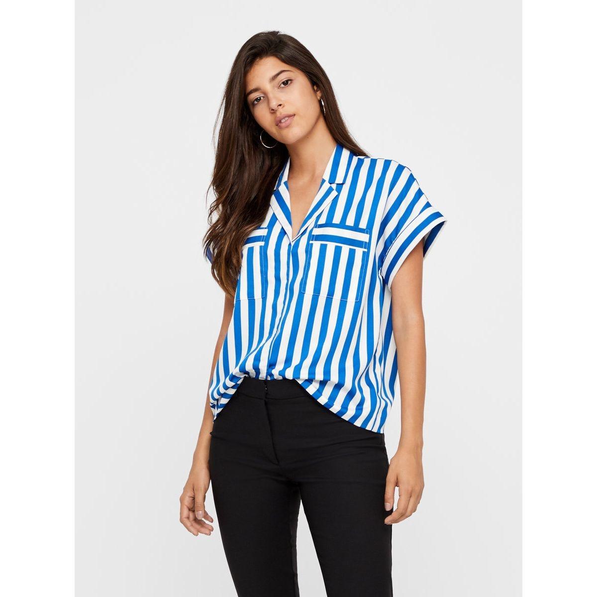 Chemise à manches courtes rayures bleues