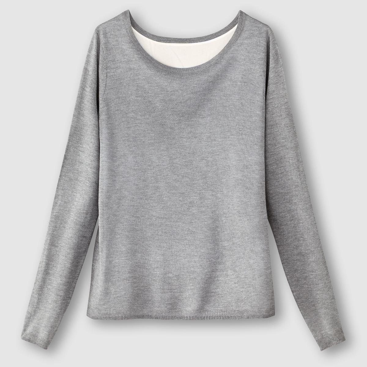 Пуловер с блузкой, 2 в 1Состав и описание:Материал: пуловер 100% акрила, блузка 100% полиэстера.Длина: 66 см.Марка: R Edition.Уход:- Стирать при 30°С с вещами схожих цветов.<br><br>Цвет: серый меланж