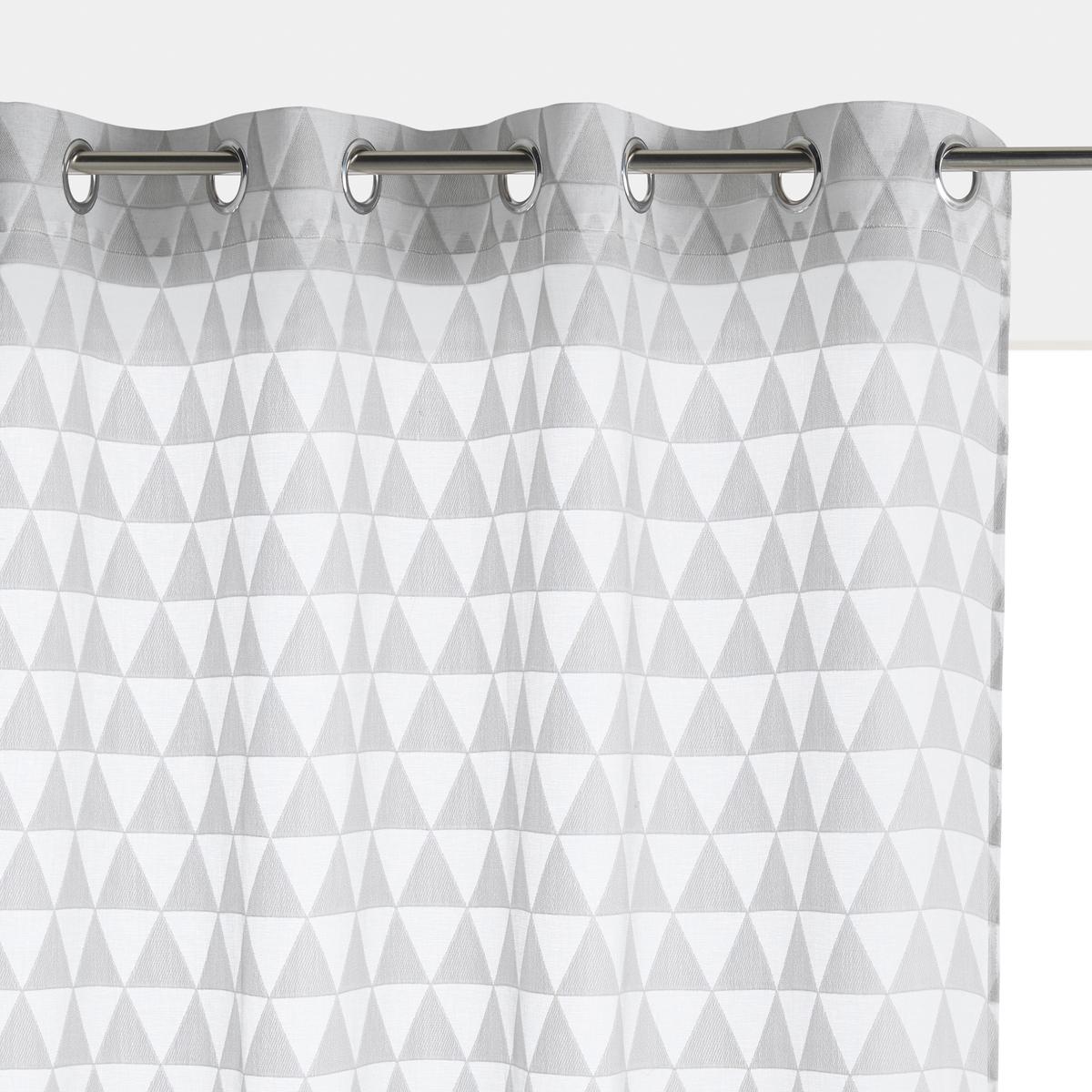 Занавеска LaRedoute С жаккардовым рисунком Triangle 350 x 135 см серый