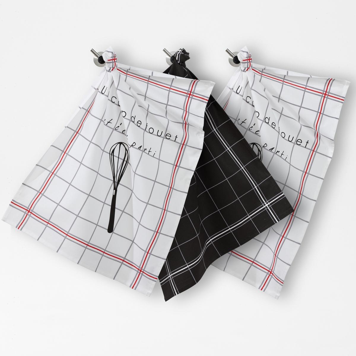 Комплект из 3 кухонных полотенец с рисунком венчики и в клеткуСовременные полотенца модных расцветок с символическим рисунком в графичную клетку: 2 белых полотенца в клетку с рисунком венчик и 1 чёрное в клетку. Характеристики комплекта из 3 кухонных полотенец:100% хлопка.- Кайма по краю..- Машинная стирка при 60°C.- Размер : 50 x 70 см.<br><br>Цвет: белый/ черный<br>Размер: 50 x 70  см