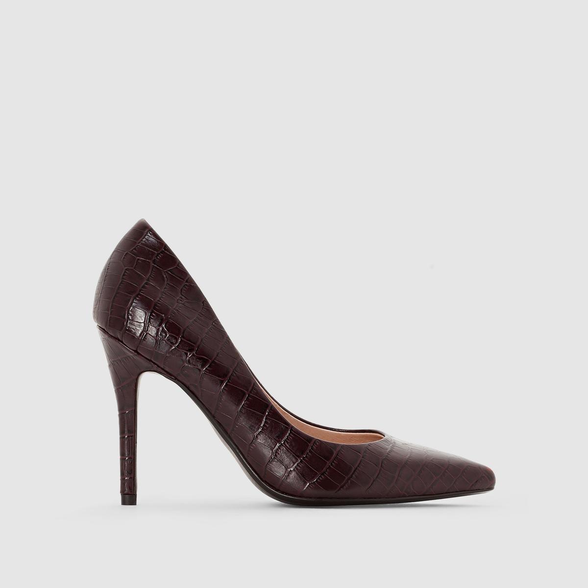 Туфли-лодочки под крокодиловую кожуВерх : синтетика под крокодиловую кожуПодкладка : кожаСтелька : кожаПодошва : эластомерВысота каблука : 10 смФорма каблука : Шпилька.Мысок : тонкий мысокМарка: Atelier R.без застежки<br><br>Цвет: бордовый,черный<br>Размер: 41.41