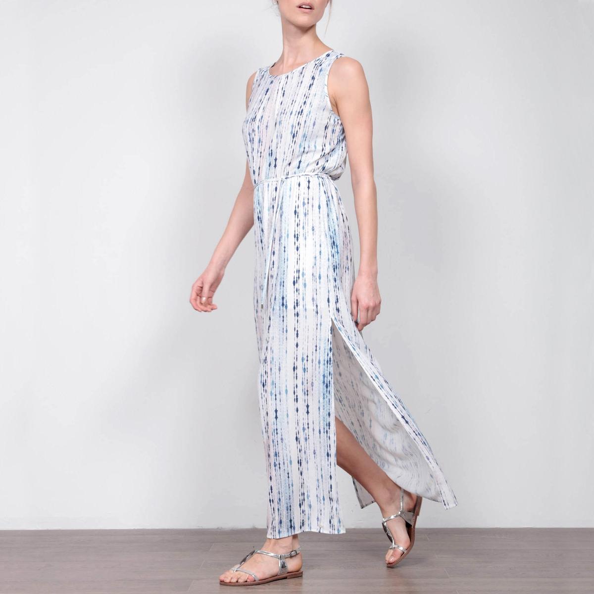 Платье длинное без рукавов с завязками на поясе