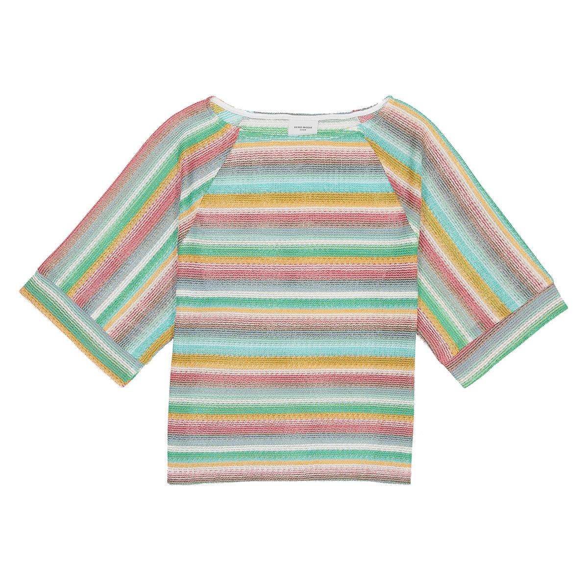 Пуловер с круглым вырезом из полиэстераДетали  •  Классическая модель •  Короткие рукава •  Круглый вырез •  Тонкий трикотаж •  Рисунок в полоскуСостав и уход  •  100% полиэстер •  Следуйте рекомендациям по уходу, указанным на этикетке изделия<br><br>Цвет: разноцветный