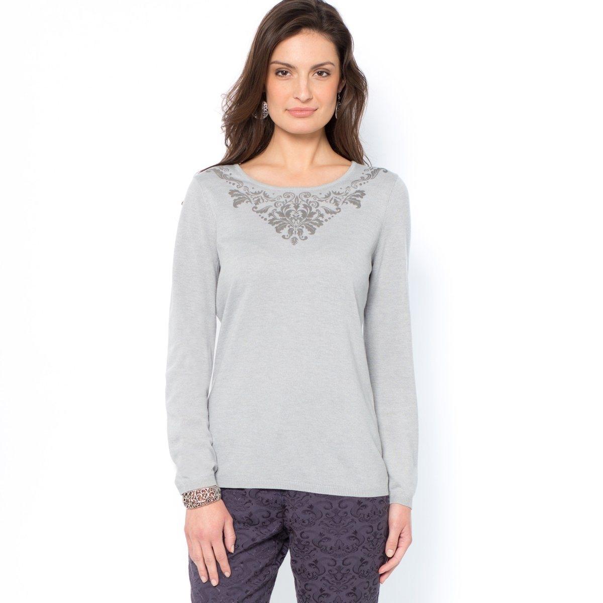 Пуловер, 10% шерстиКруглый вырез украшен рельефным узором спереди. Отделка руликом. Длинные рукава. Длина 60 см. Мягкий трикотаж, 66% акрила, 24% полиамида, 10% шерсти.<br><br>Цвет: серый жемчужный