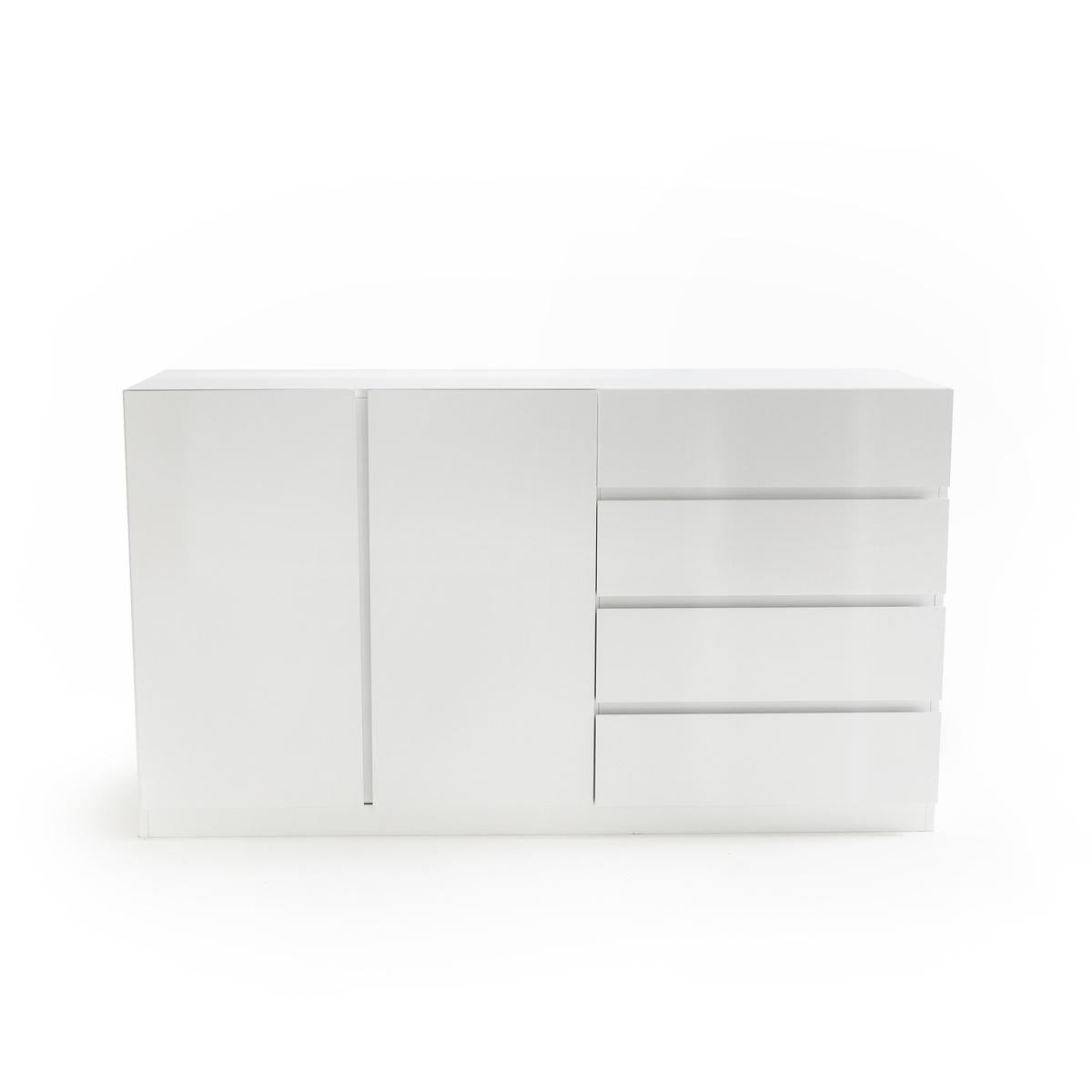 Шкаф LaRedoute Низкий с отделением для одежды с 2 дверцами и 4 ящиками LEO единый размер белый