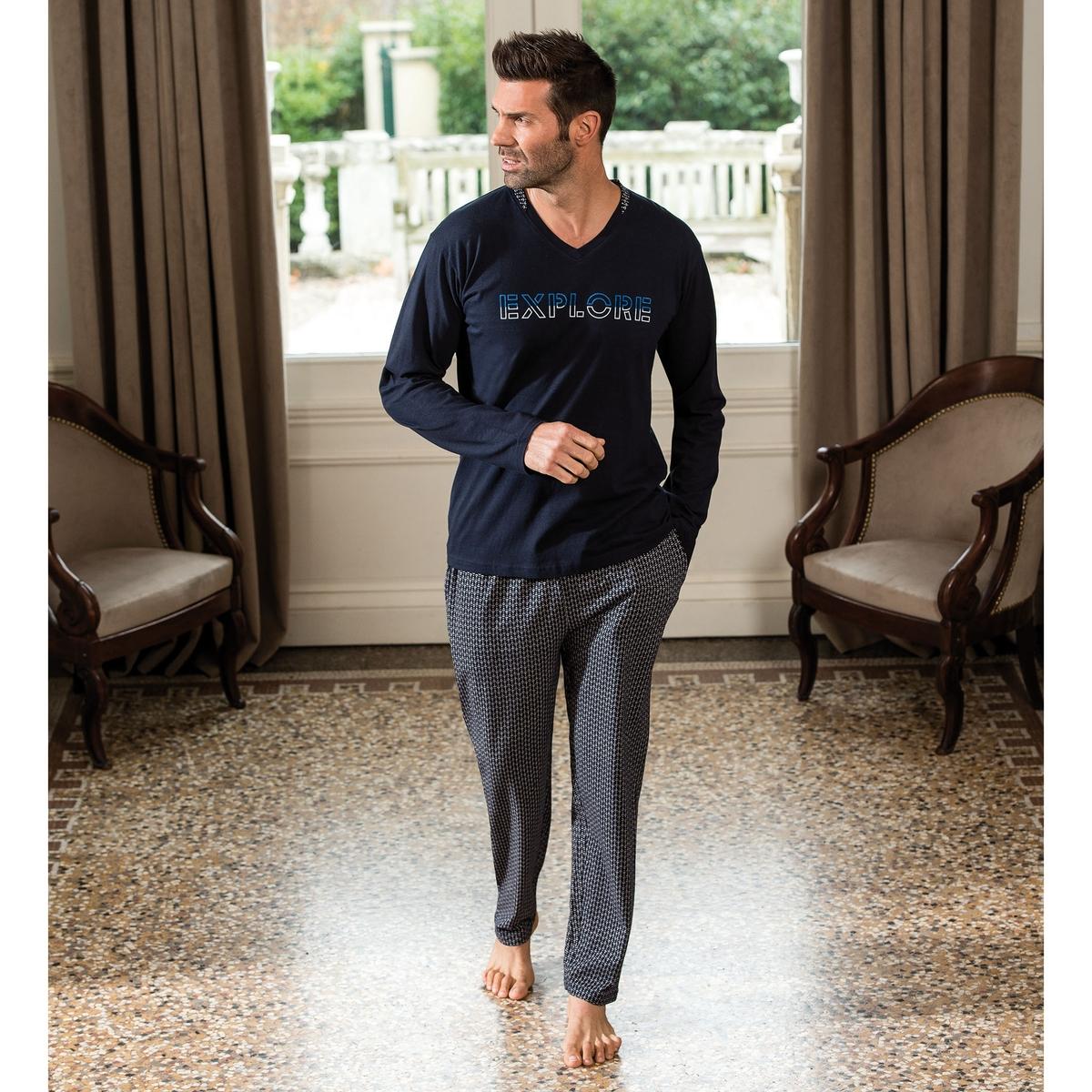 Пижама La Redoute С брюками Explore XL синий комбинезон с брюками однотонный