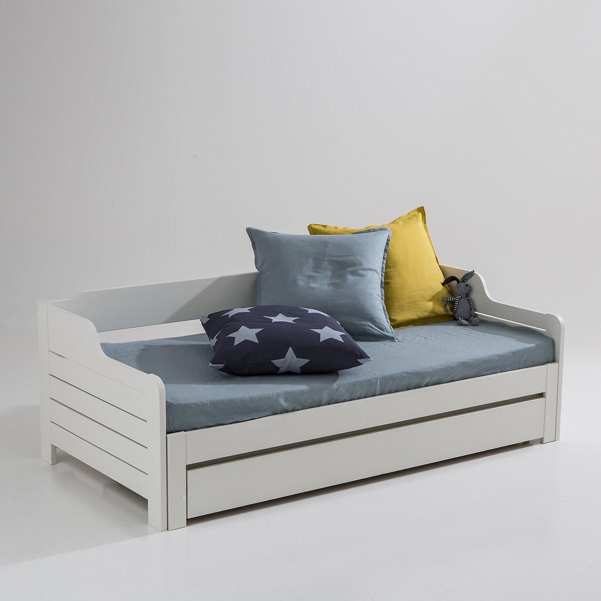 Кровать-банкетка LaRedoute Раздвижная с ящиком для хранения и реечным дном Grimsby 90 x 190 см белый матрас laredoute для кровати с ящиком 90 x 180 x 12 белый