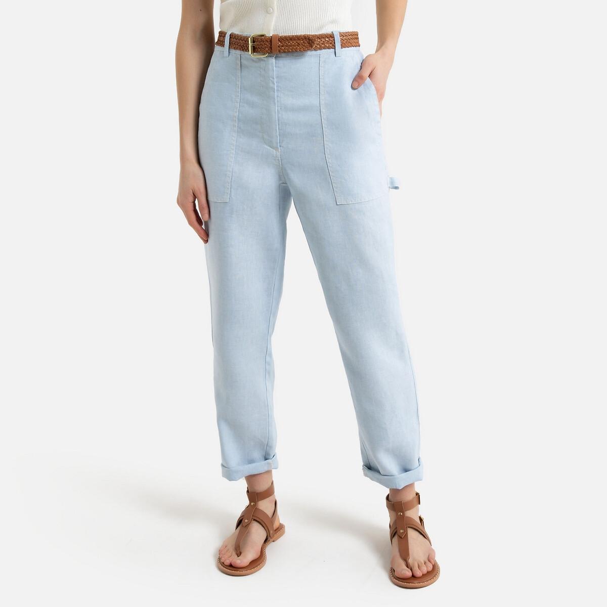 Pantalon droit style charpentier en lin