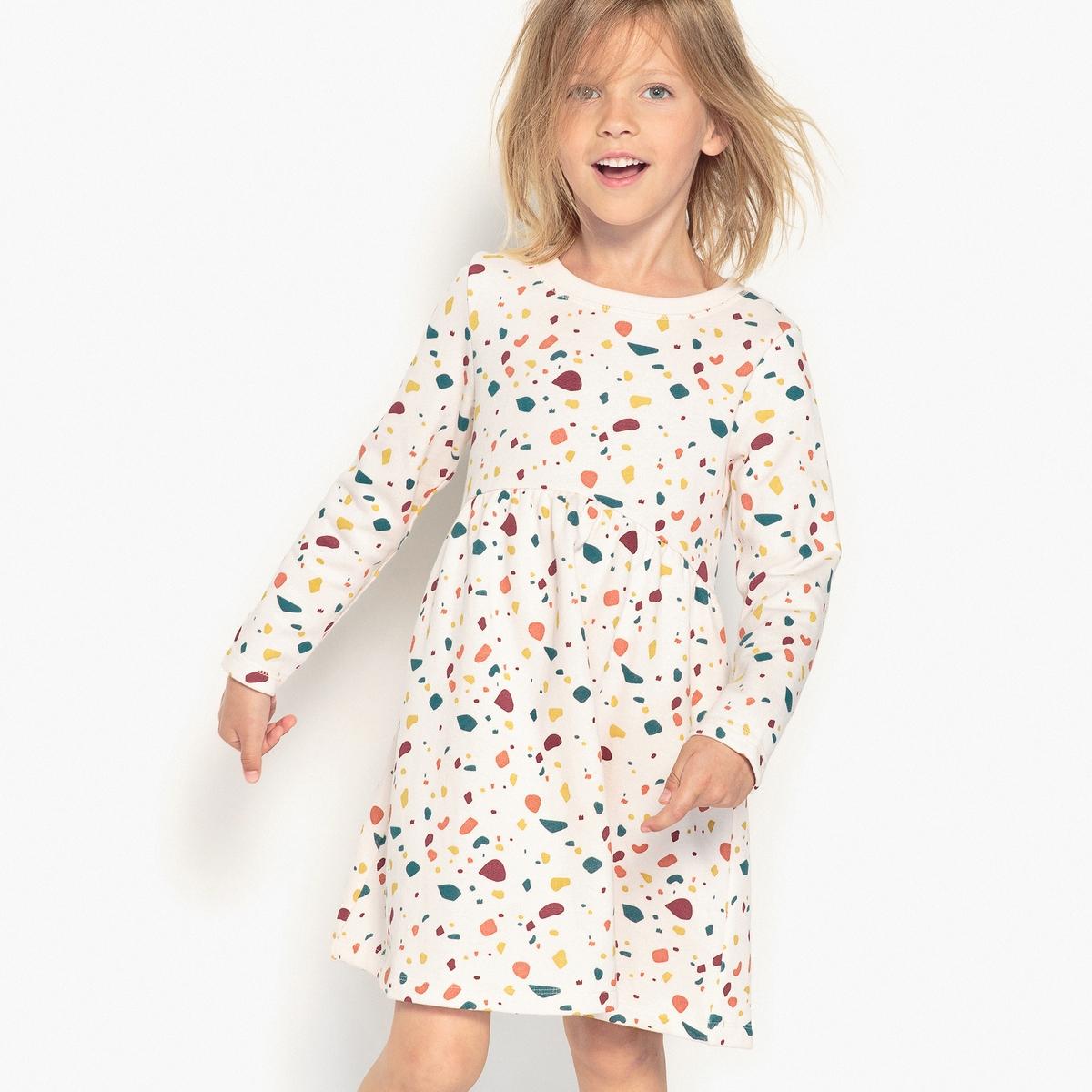 Платье с длинными рукавами и принтом 3-12 лет